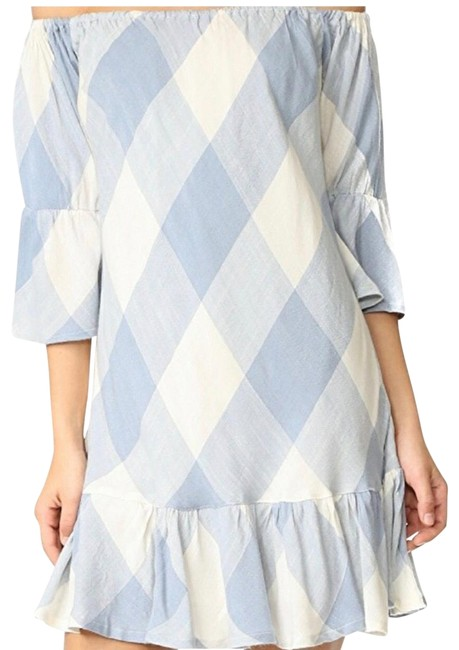 Item - Blue and White Off The Shoulder Short Casual Dress Size 4 (S)