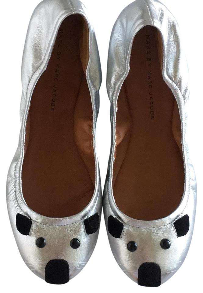 Marc by Marc Jacobs Silver and Black Mouse Ballet Flats Size US 8 Regular (M, B)