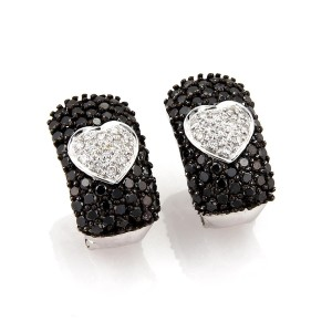 Other 4.56 Carats Black &White Diamond 18k Gold Heart Style Earrings