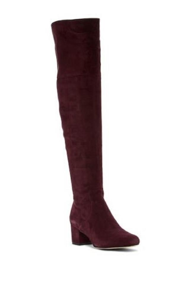 8313adb0859f9b Sam Edelman Burgundy Elina Suede Leather Over Knee Boots Booties ...