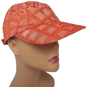 Chanel Red orange Chanel Travel line interlocking CC cap M sz