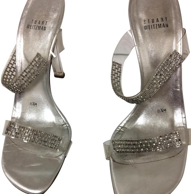 Item - Silver Rhinestone Clear Heel Mules/Slides Size US 8.5 Regular (M, B)