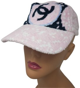 Chanel Pink, white multicolor textured cotton terrycloth Chanel cap S sz