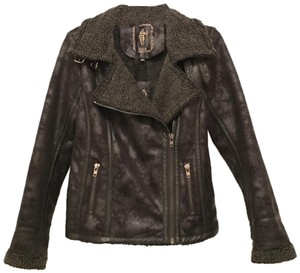My Tribe Distressed Faux Leather Faux Suede Faux Shearing Bomber Motorcycle Jacket
