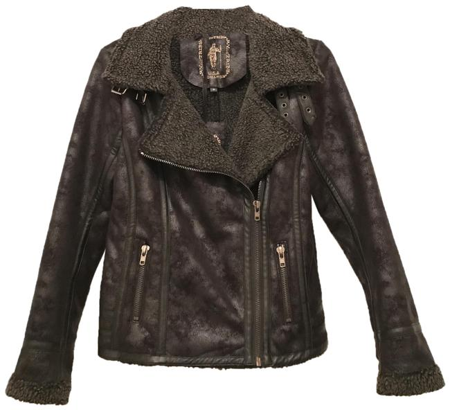 Item - Black New Faux Distressed Shearing Suede/Leather Bomber Jacket Size 8 (M)