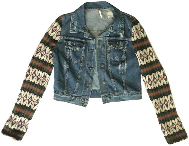 Item - Multicolor Dark Distressed Jean with Wool Sleeves Jacket Size 4 (S)