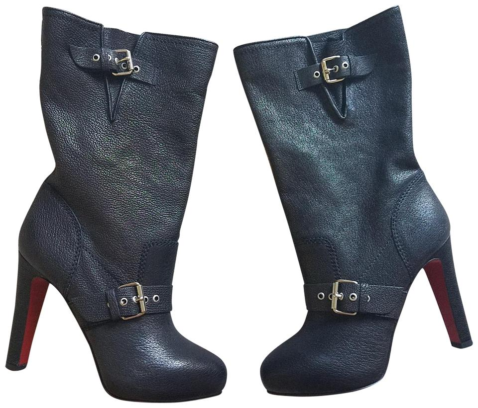 newest 1c80a f9097 Christian Louboutin Black Silver Leather Biker Mid-calf Boots/Booties Size  EU 40 (Approx. US 10) Regular (M, B) 35% off retail