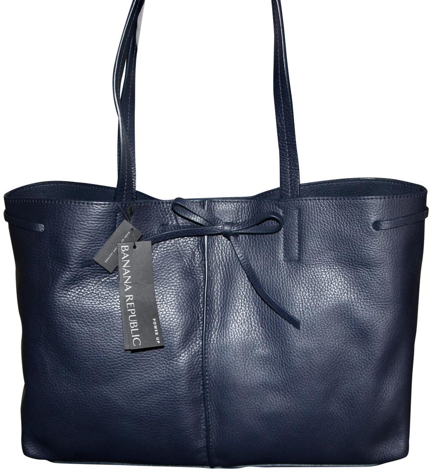 ef62a1270caf Banana Republic Phone Charger Italian Leather Tote in Navy Blue Image 0 ...