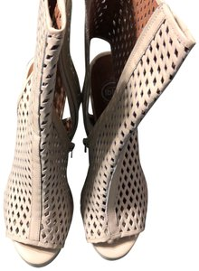 Jeffrey Campbell white punch patent Mules