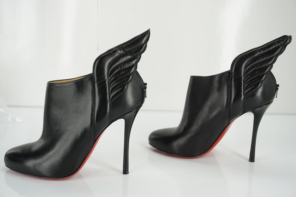 c38703c7413 Christian Louboutin Black Leather Mecura Winged Heels Booties Pumps Size EU  37 (Approx. US 7) Regular (M, B) 50% off retail
