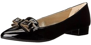 Anne Klein Patent Leather Bow Leather Pointed Toe black Flats