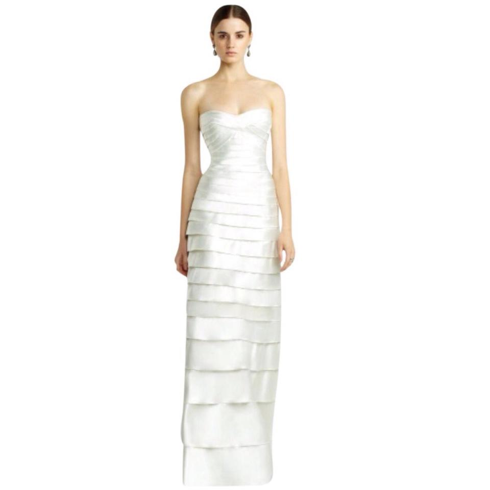 BCBGMAXAZRIA Off White Strapless Tiered Sweetheart Bodice Gown Long ...