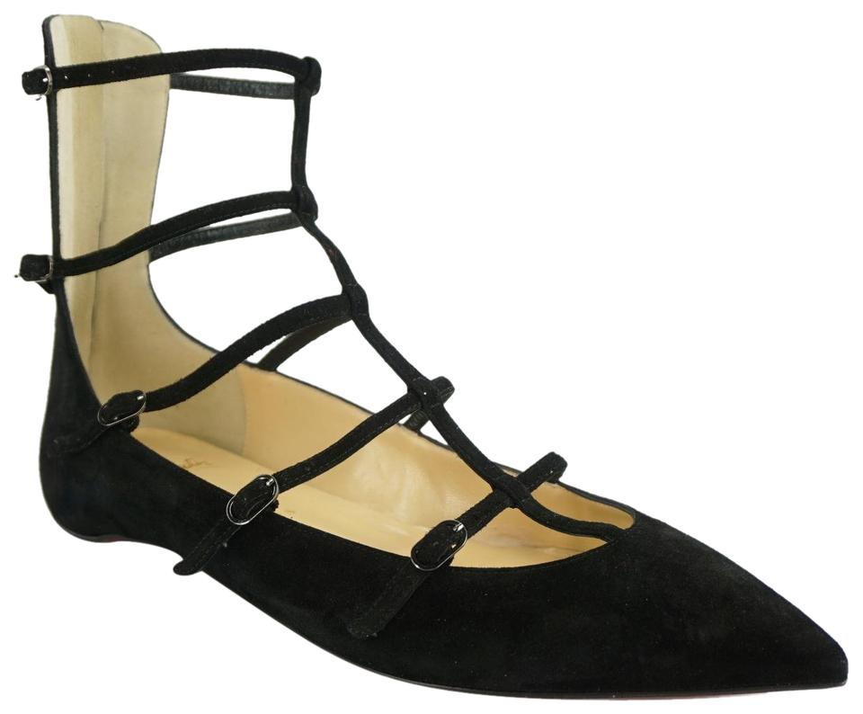 ff14387e933 Christian Louboutin Black Suede Toerless Caged Strappy Cut Out Ankle Ballet  Flats
