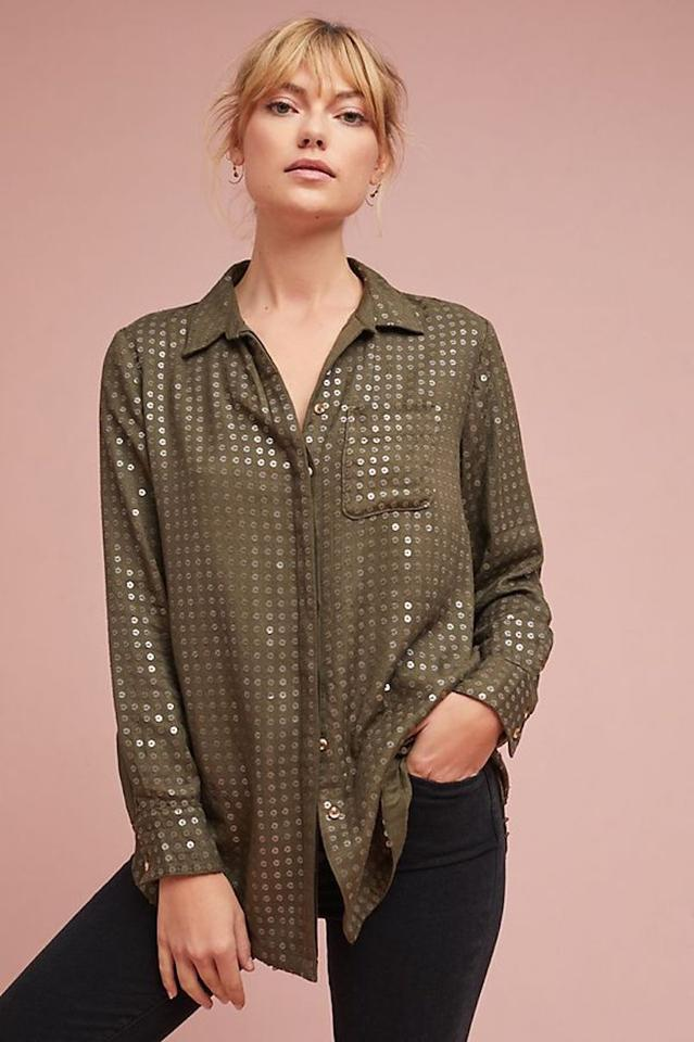 dbd12160fef0a8 Anthropologie Green Maeve Sequined Button-down Top Size 6 (S) - Tradesy