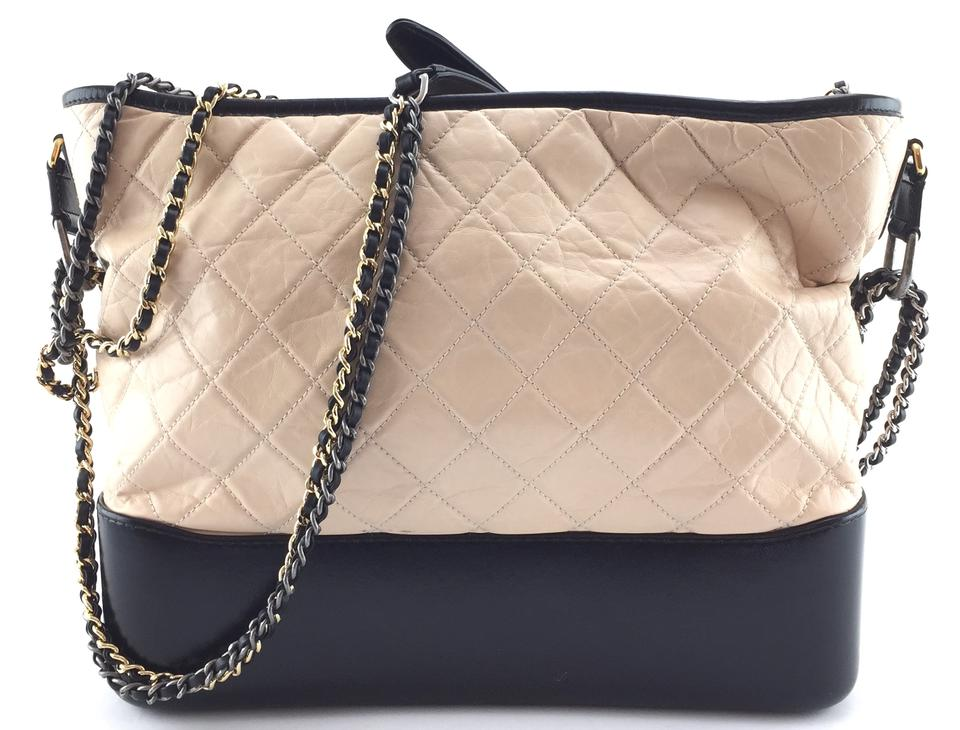 686938c04ce272 Chanel Gabrielle Hobo #18831 Quilted Aged Large Cc Two Tone Hardware Black  and Beige Calfskin Leather Shoulder Bag - Tradesy