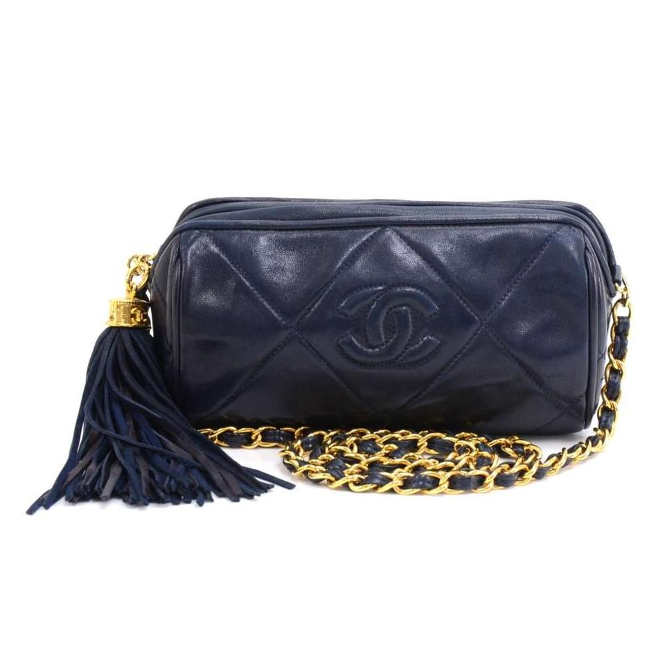 d4a14b492489 Chanel Vintage Quilted Barrel + Tassel Navy Lambskin Leather Shoulder Bag