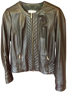 Tory Burch Quilted Gold Hardware Brown Leather Jacket