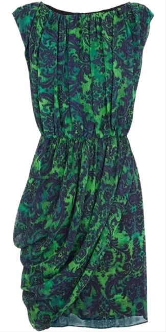 Item - Blue and Green High Neck Mid-length Short Casual Dress Size 2 (XS)