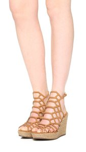 SCHUTZ Caged Leather Platform Espadrille Tan Wedges