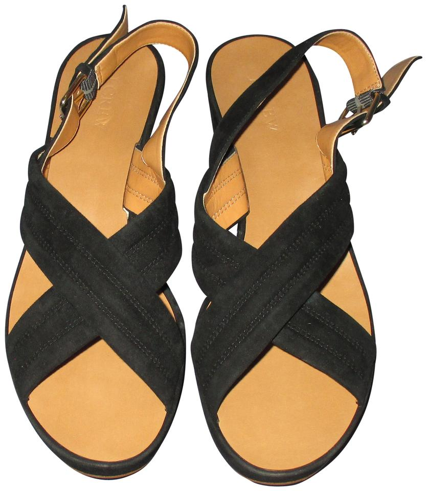 1a1bc31e1 J.Crew Black Marcie Suede Leather Criss Cross Ankle Wrap Flat Sandal ...