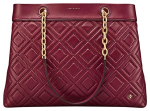 Tory Burch Large Handbag Computer Leather Tote in Imperial Garnet