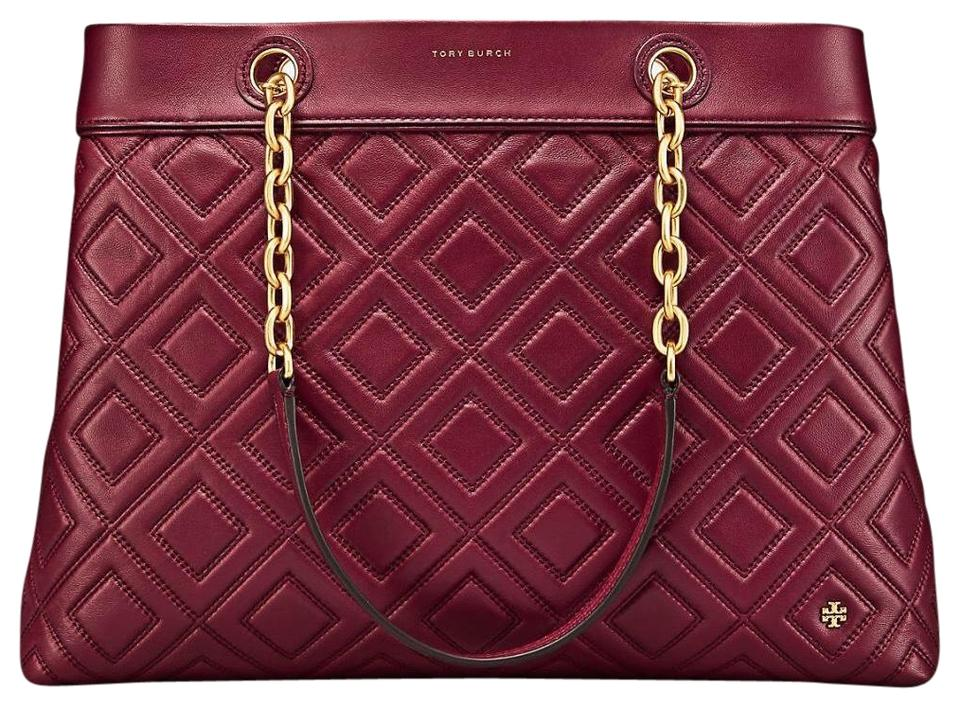 8482a13433ad1 Tory Burch Large Handbag Computer Leather Tote in Imperial Garnet Image 0  ...