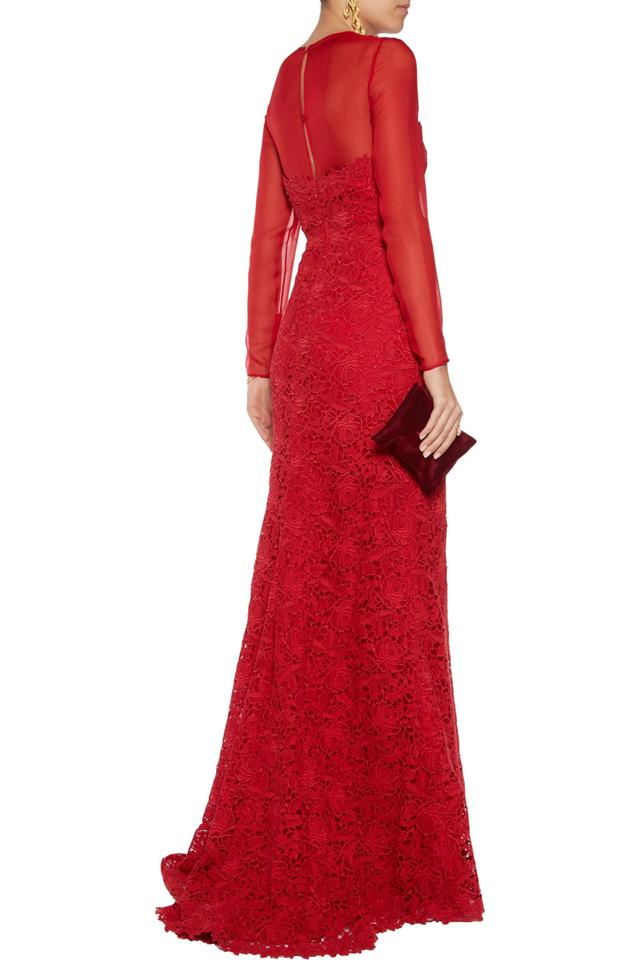 Valentino Red Chiffon and Cotton-lace Gown 40 Long Formal Dress Size ...