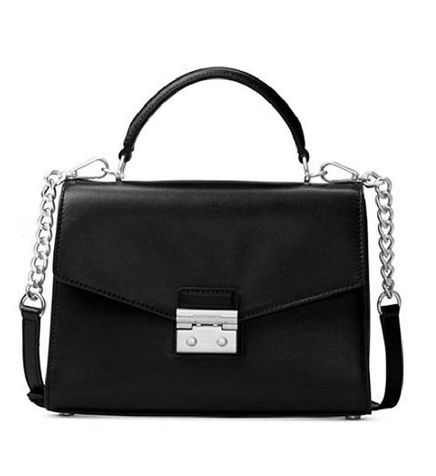 581a3433f255c Michael Kors Medium Sloan Shoulder Smooth Leather Satchel in black Image 0  ...