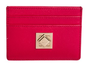 Dior Christian Dior Pink Textured Leather Card Holder Wallet