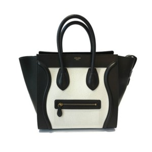 Céline Satchel in Black and ivory.