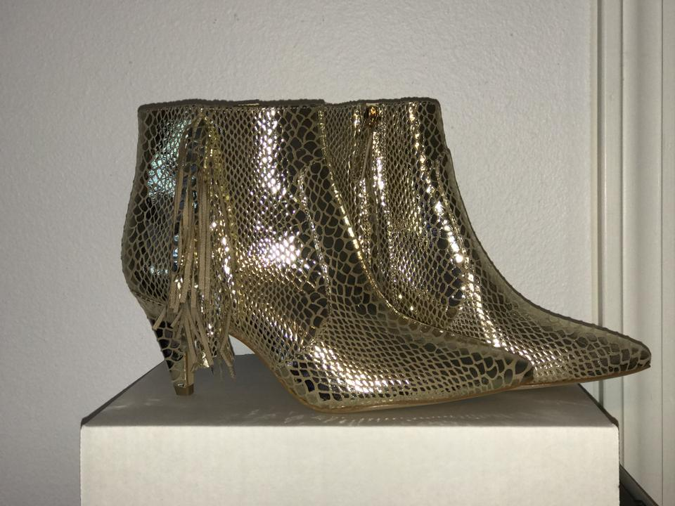 022f1bfc8fa Nine West Gold Nwob Jetra Metallic Leather Ankle   Boots Booties ...