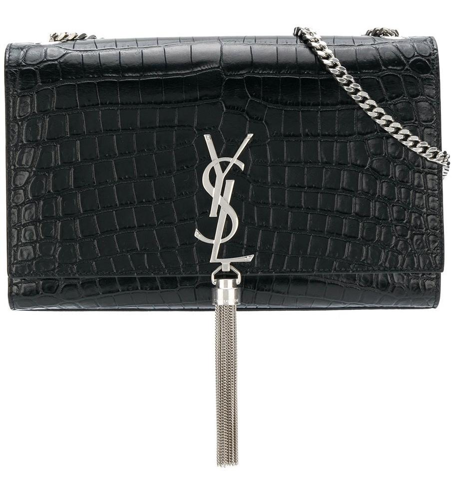 Shoulder Laurent Tassel Leather Black Embossed Monogram Kate Bag Saint Chain Medium Croc dfwYCYvx