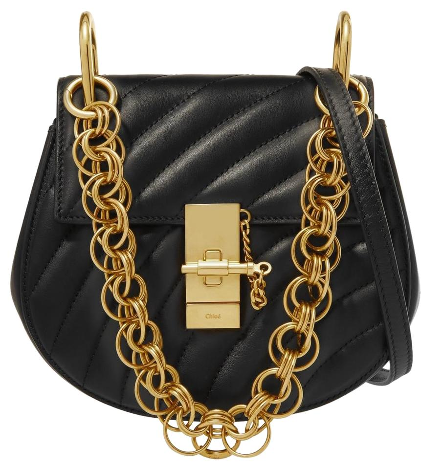 a02178ac1929 Chloé Drew Bijou Gold Chain Handles Black Quilted Leather Cross Body Bag