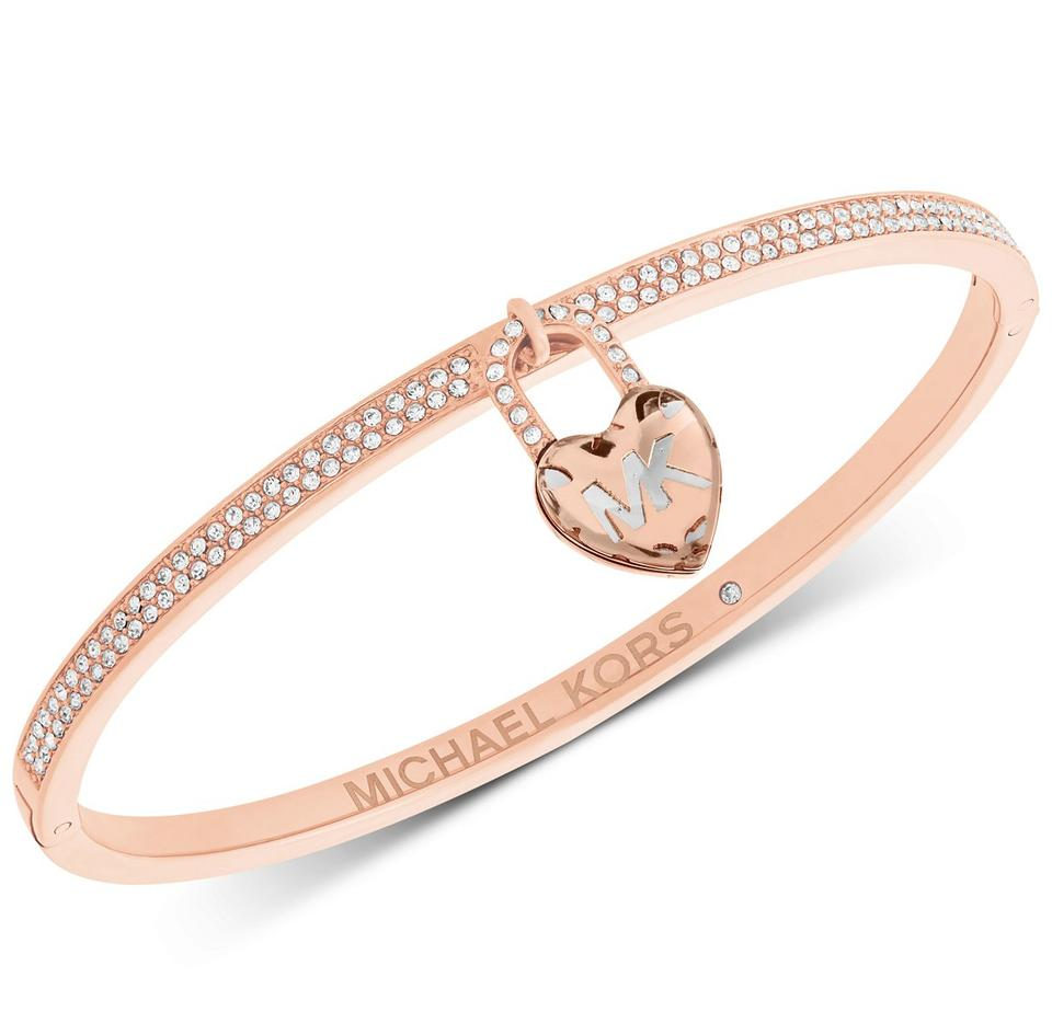 Michael Kors Pavé Heart Lock Charm Bangle Bracelet