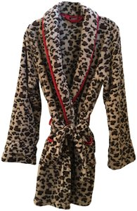 Frederick's of Hollywood Leopard Fleece Robe with Red trim from Fredrick's of Hollywood