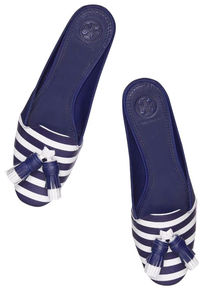 91f036fa5c5b Tory Burch Nautical Striped Summer Tassels Slides Navy blue white Sandals  Image 0 ...