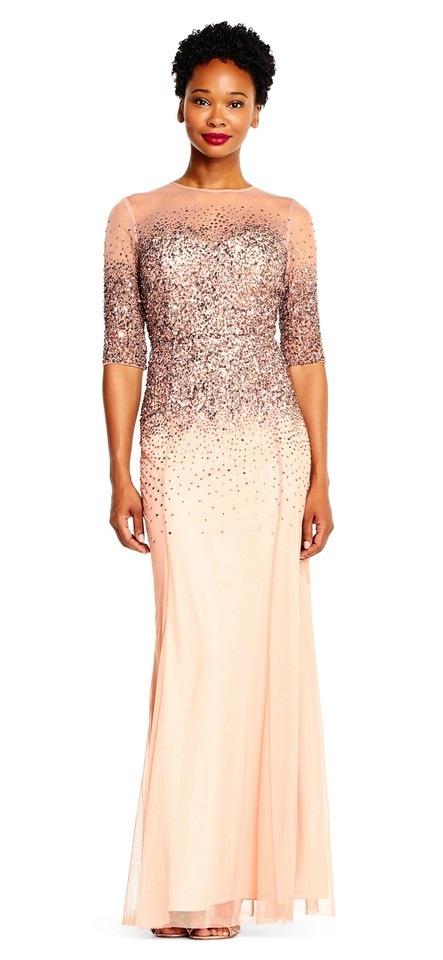 fe212066086 Adrianna Papell Rose Gold Beaded Illusion Gown Long Formal Dress ...