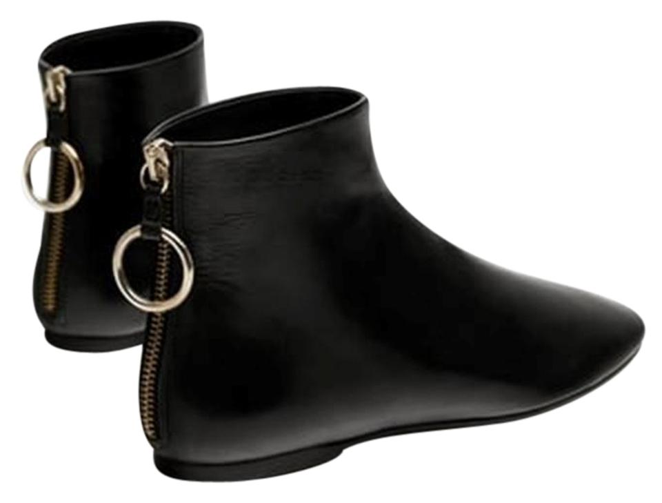 a83432ed7578 Zara Black Flat Leather New Ankle Boots Booties. Size  US 6.5 Regular ...