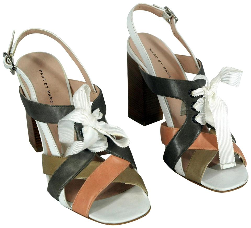 Marc by Marc Leather Jacobs Multi-color Four-colors Stripped Leather Marc Chunky Sandals ab476d