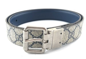 Gucci GG logo gold buckle leather Belt