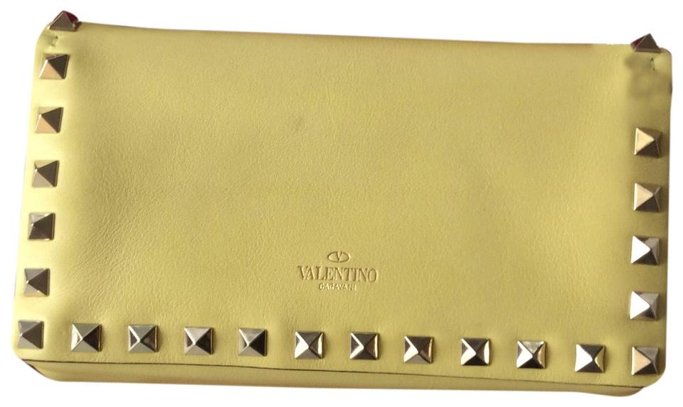 ae999d7c72 Valentino Rockstud Yellow Leather Clutch - Tradesy