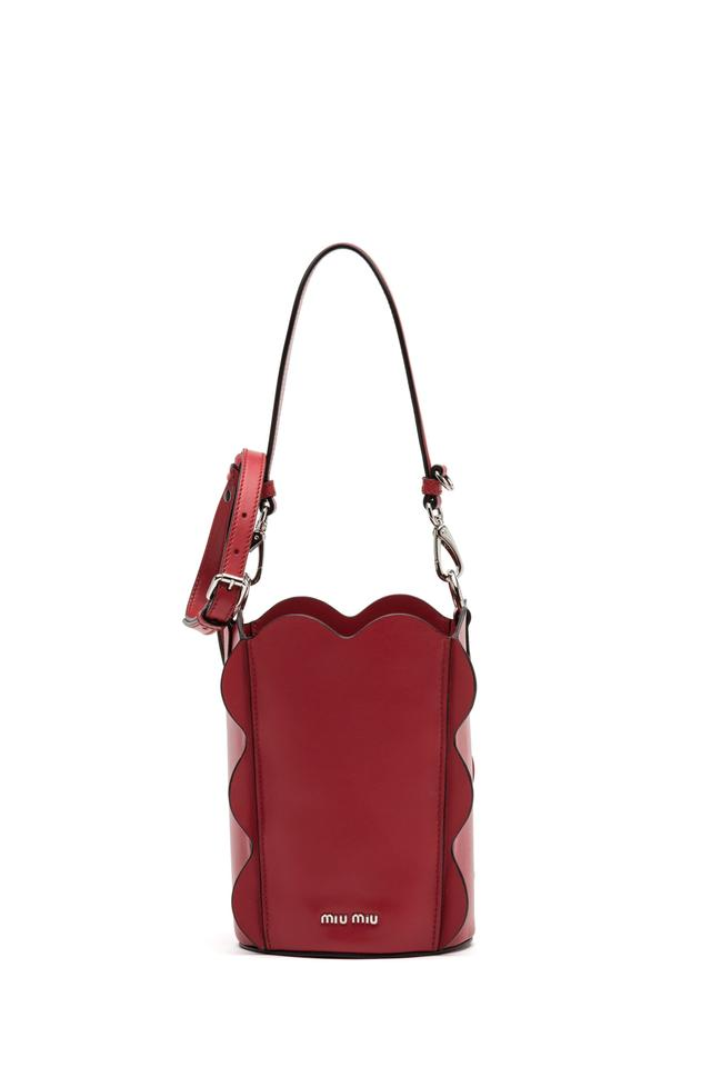 4f35be788b7e Miu Miu Prada Women s Vitello Soft Bucket Handbag 5be016 Red Leather Cross  Body Bag