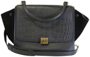 Céline Trapeze Croc Embossed Croc Trapeze Shoulder Bag
