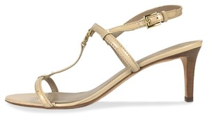 Tory Burch Patent Leather Gold Hardware Wooden Heel Strappy Date Beige Formal