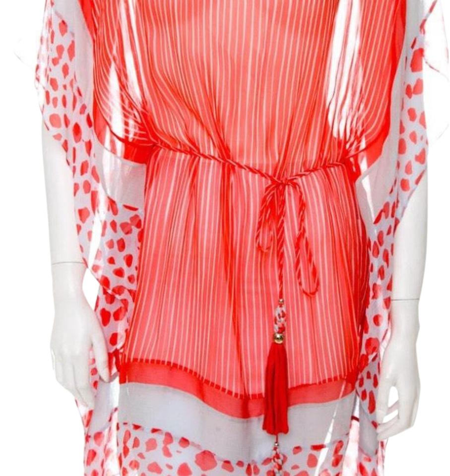 514a5b496da8e Diane von Furstenberg Orange and White Tunic Silk Blouse Size 4 (S ...