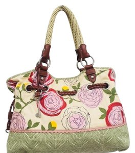 Fossil Satchel in Cream, Brown and Multi
