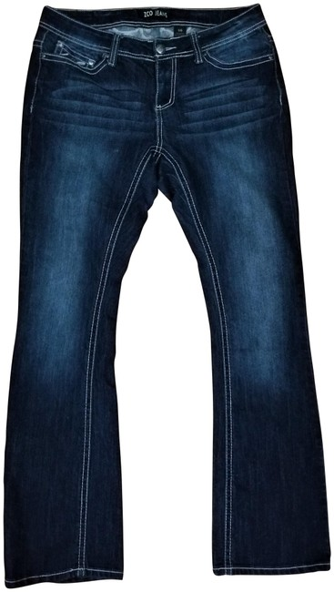 Item - Dark Blue Rinse With Bling Boot Cut Jeans Size 35 (14, L)