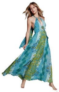 Blue Multi Maxi Dress by Free People Drapey Ties Partially Lined Cutout Detailing Tassels Plunging Neck