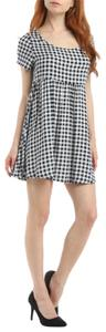 American Apparel short dress black and white Babydoll Plaid Summer Free People on Tradesy