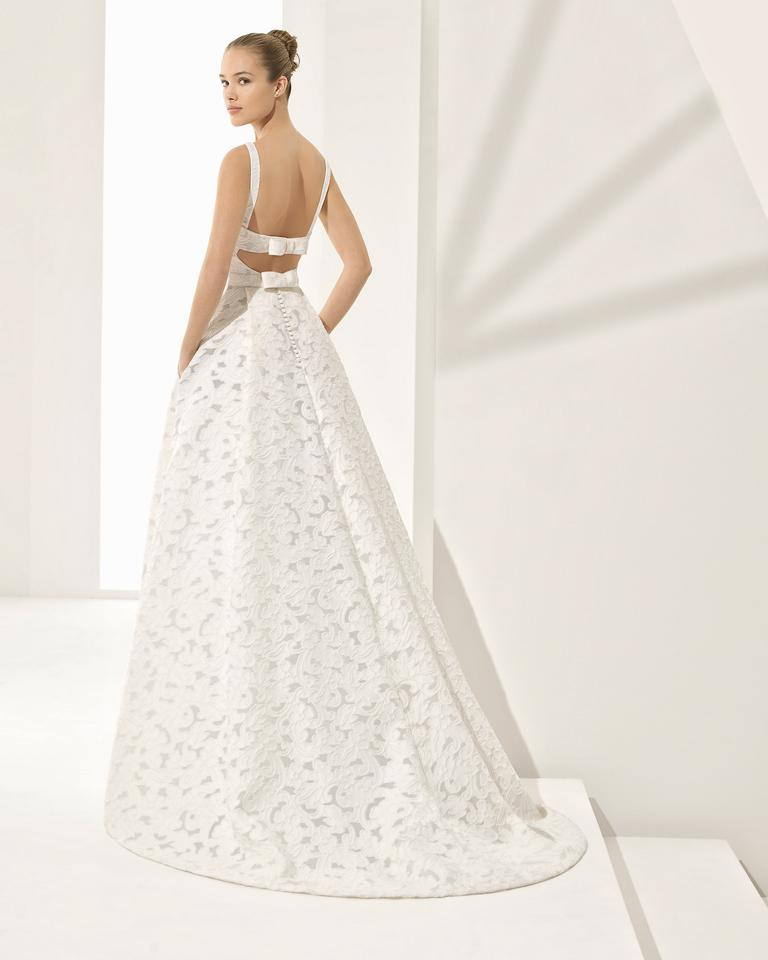 Rosa Clará White Brocade Couture Collection 2018 Feminine Wedding Dress Size 0 Xs